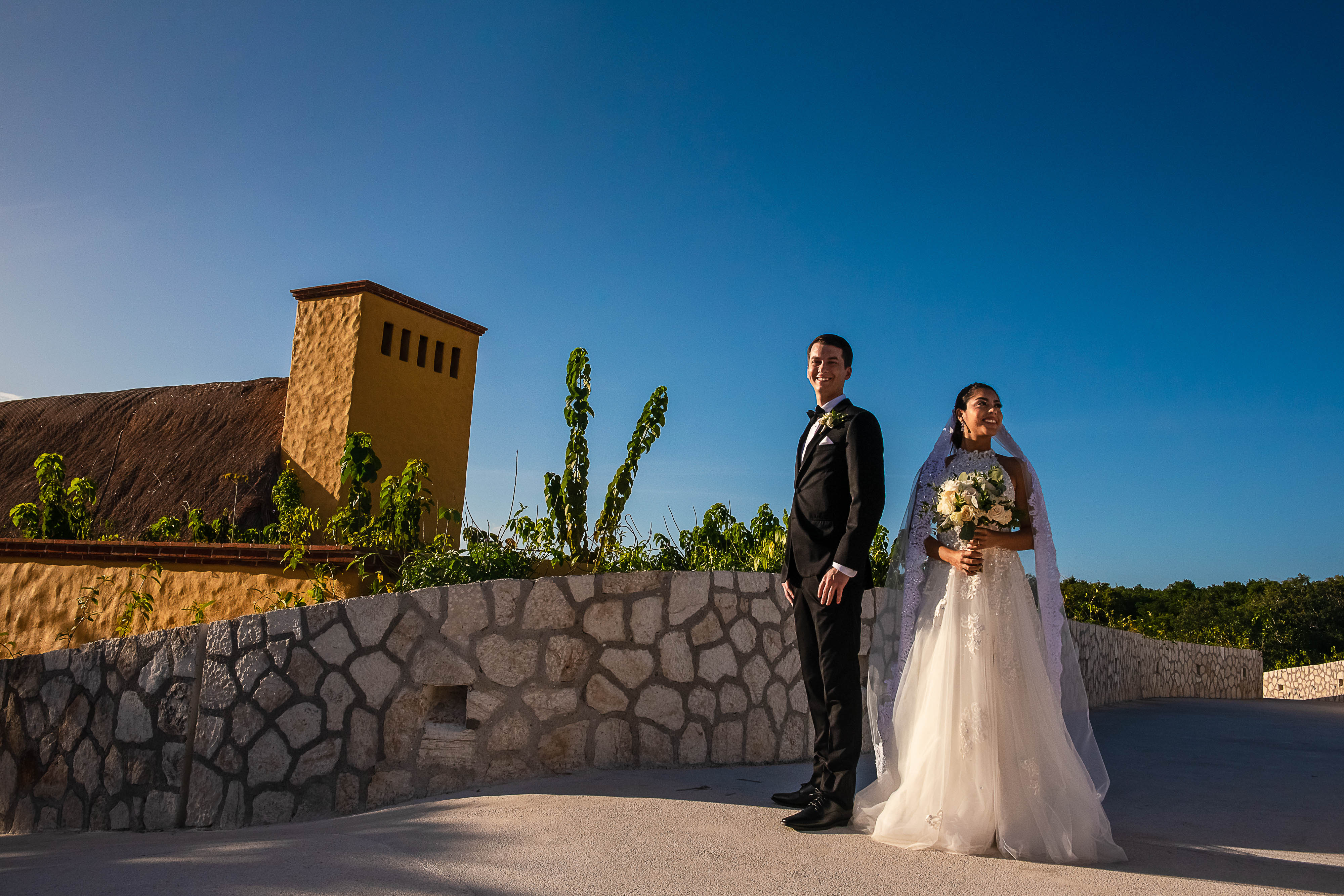 the couple session before the ceremony in xoximilco chapel cancun